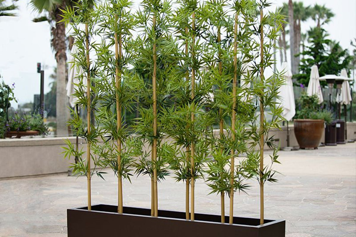 Artificial/ fake bamboo in a planter box