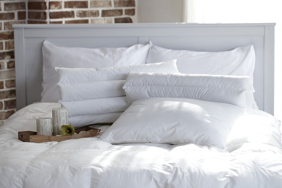 Bed with the best Bamboo Pillows in white