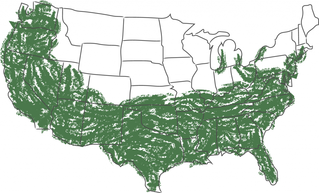 USDA Zones 6-10 marked with green on a USA map