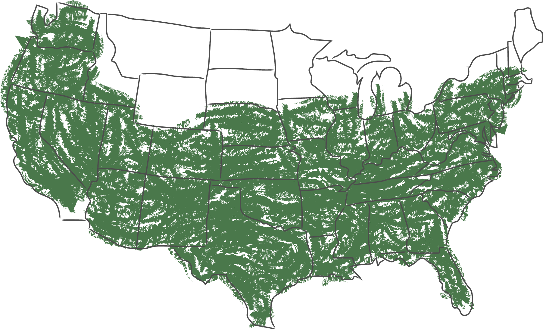 USDA Zones 5-10 highlighted in green on a USA map