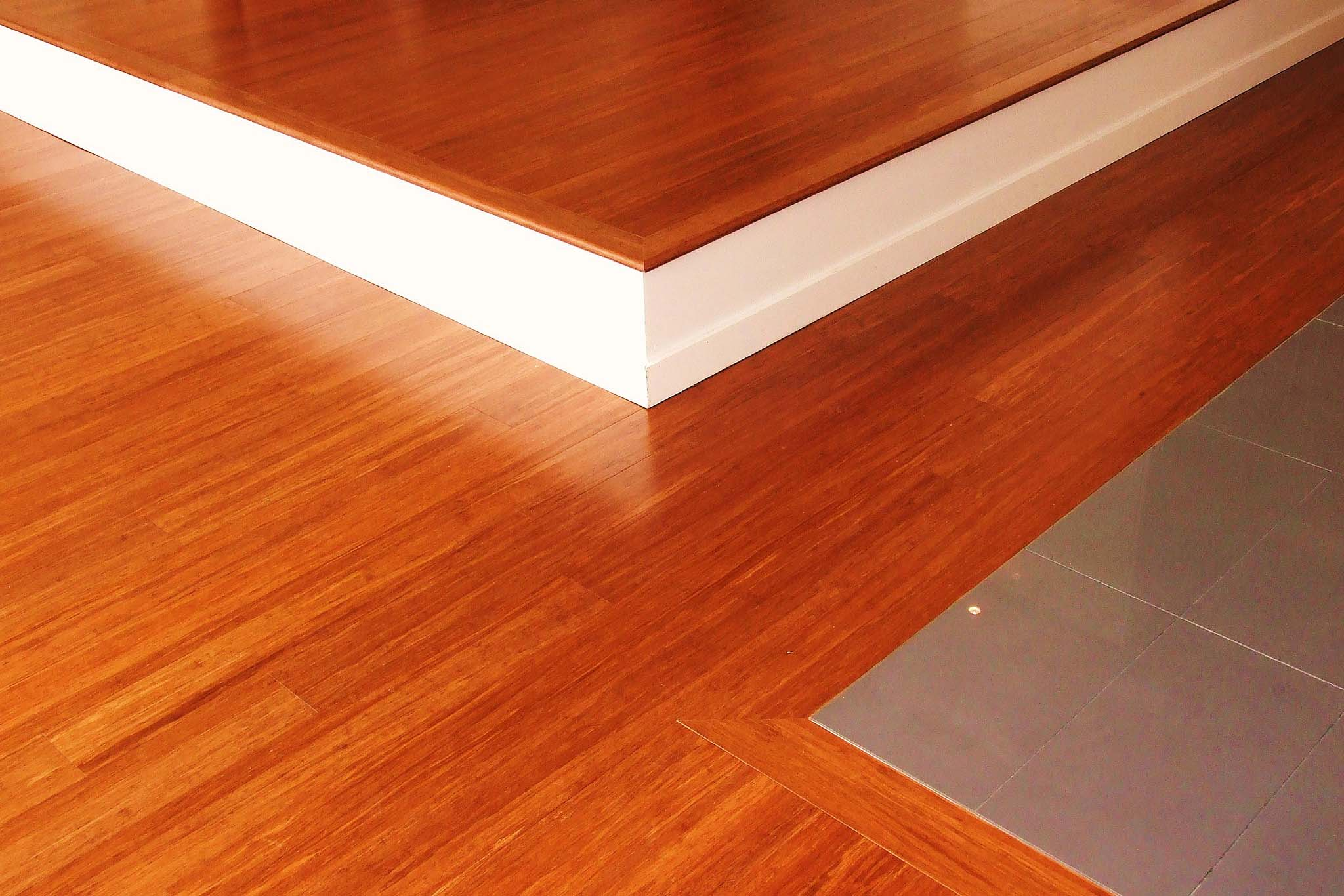 Eco-friendly bamboo flooring in a reddish hue