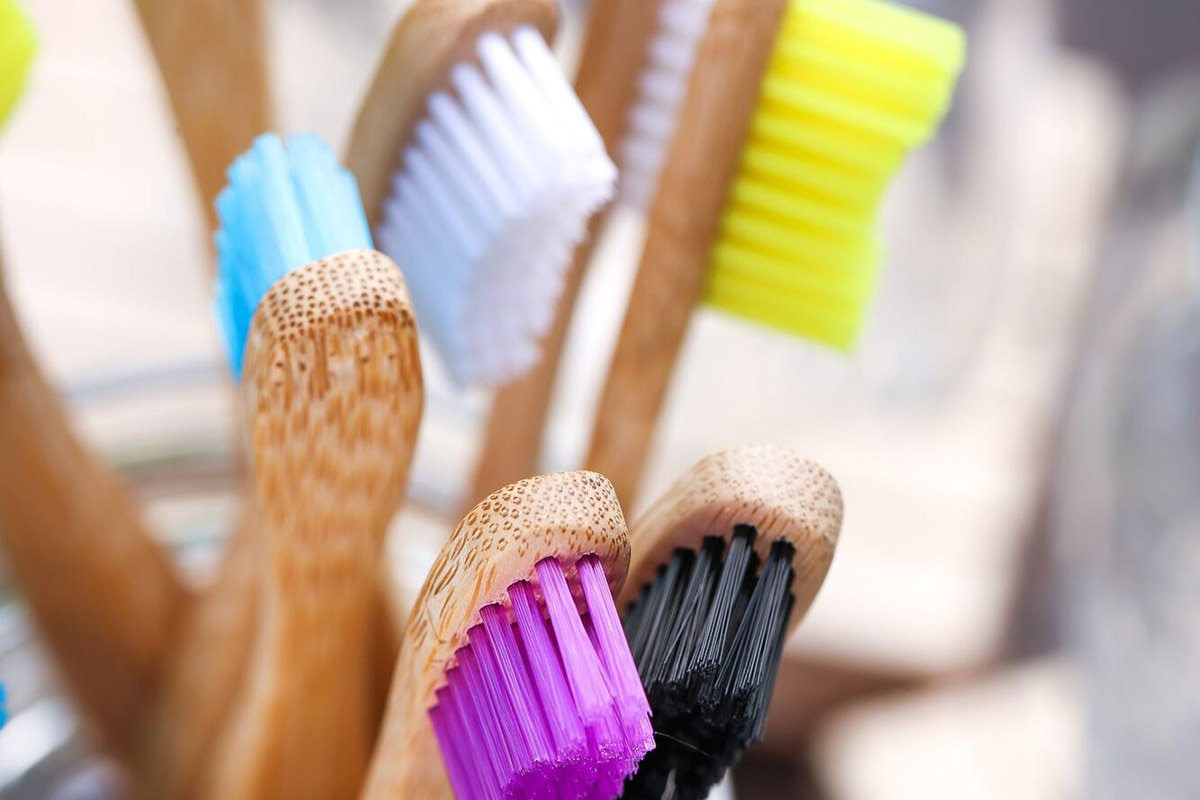 Bamboo toothbrushes with colorful bristles