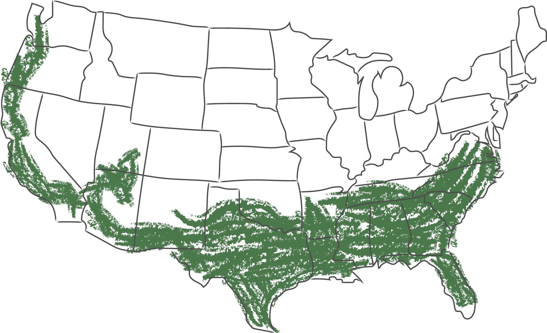 USDA Zones 7-10 highlighted in green on a USA map