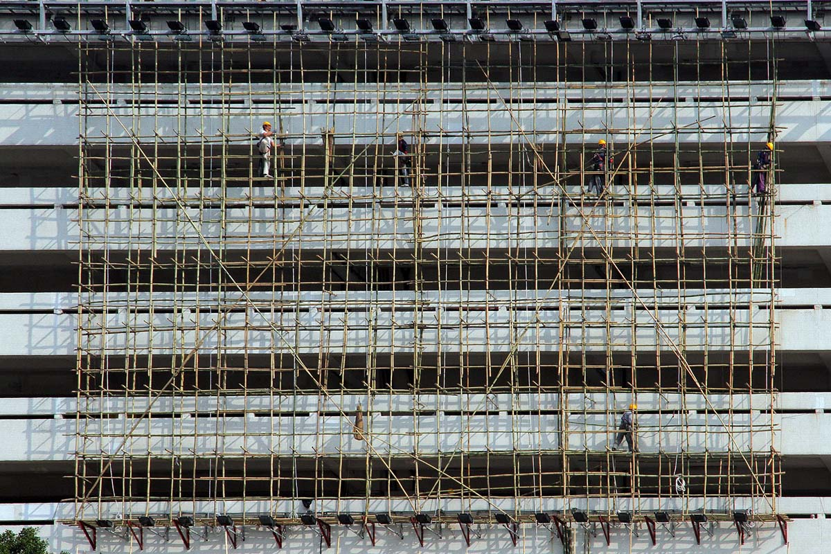 Scaffolding made of timber bamboo
