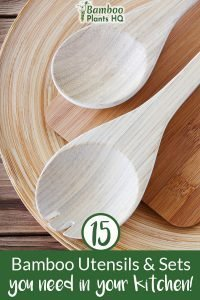 Bamboo kitchen utensils on a table with the text: 15 Bamboo Kitchen Utensils & Sets you need in your kitchen!
