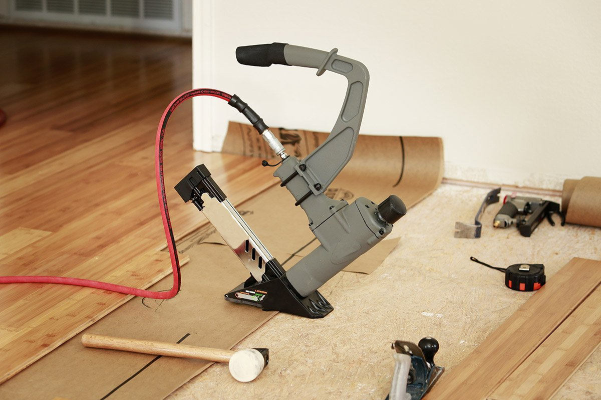 Tools for installing bamboo flooring in a house