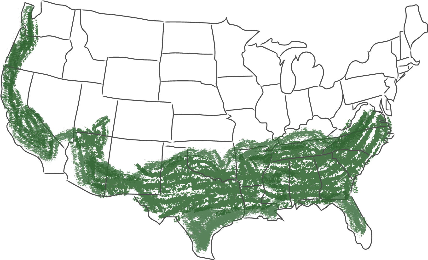 USA States map with the USDA Zones 7-9 marked in green
