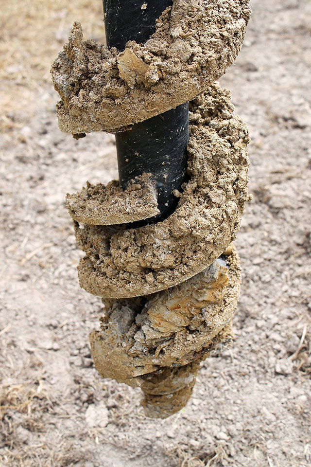 Drill with sticky clay soil