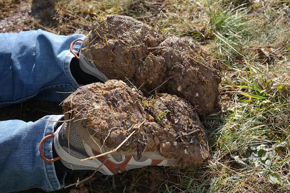 Clay soil stuck at the bottom of gardening shoes