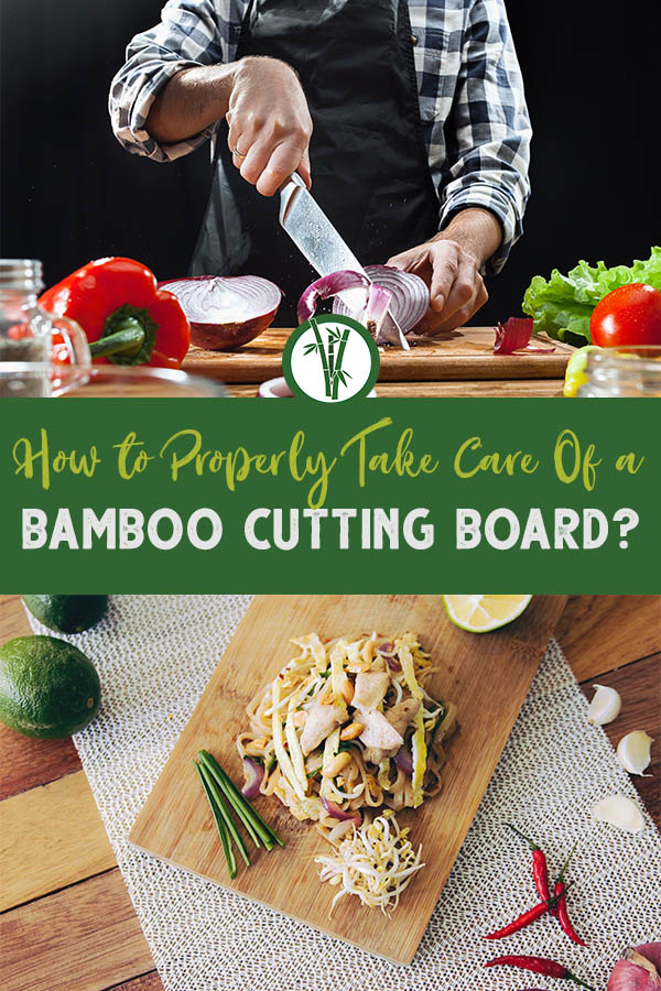A person cutting onion on a bamboo cutting board on top and mix of a salad on a bamboo board at the bottom with the text in the middle: How to properly take care of a bamboo cutting board?
