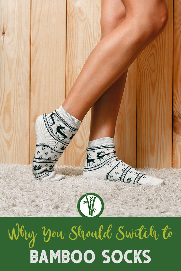 Woman wearing a pair of bamboo socks with the text on bottom: why you should switch to bamboo socks