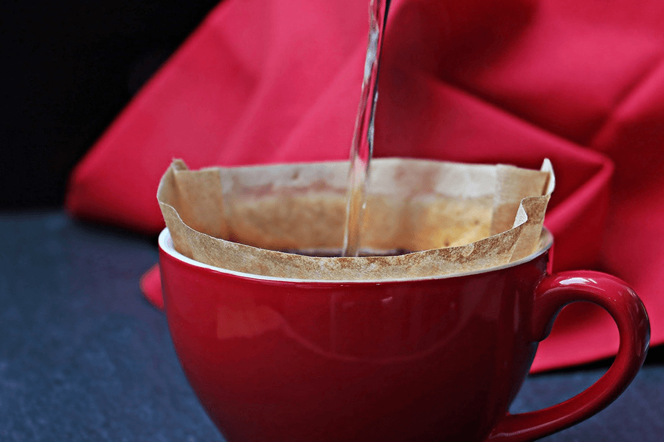 Filter paper inside the coffee cup
